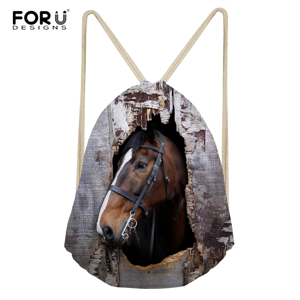 FORUDESIGNS Drawstring Bag Women's Horse Printed Backpack Females Small Shopping String Pouch Kids Girls Logo Custom Bolsos color block panel pouch design string t back