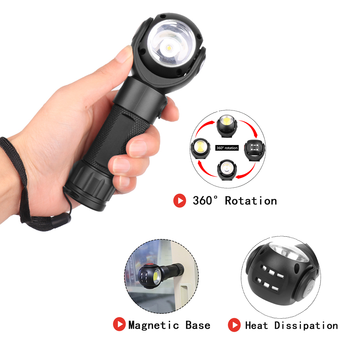 US $115 6 |T6+COB LED flashlight 360 degree rotation Tail with magnet  Multifunctional safety torch Custom LOGO USB charge 18650 Battery -in LED