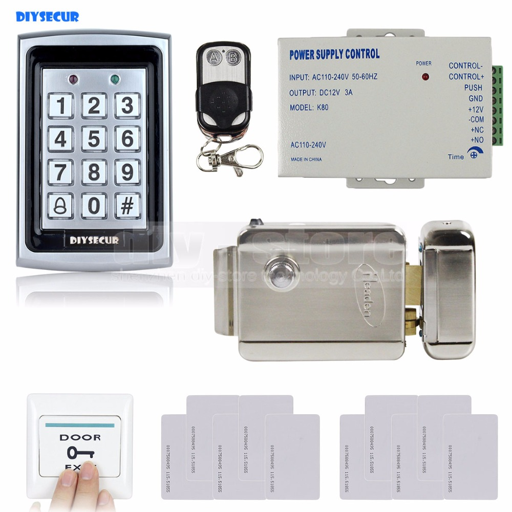 DIYSECUR RFID Metal Case Keypad Door Access Control Security System Kit + Electric lock + Remote Control 7612 diysecur 125khz rfid metal case keypad door access control security system kit electric strike lock power supply 7612