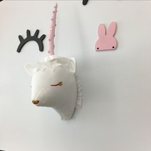 Northern Europe Entrance Unicorn head Wall Hangings INS Doll Plush Decoration Stuffed Animal Child Toys Xams Gift Dash Cushion