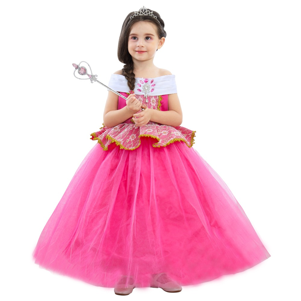 NEW!Girls Aurora Dress Halloween Cosplay Sleeping Beauty Princess Dresses Christmas Costume Party Children Kids Clothing Costume