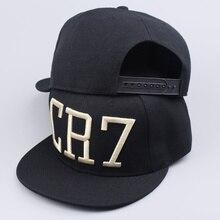 Новый 2016 Криштиану Роналду CR7 Золотые Буквы Черные Бейсболки хип-хоп Спорт Snapback cap hat chapeu де золь кость мужчины