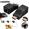 HDMI RJ45 CAT5E CAT6 UTP LAN Ethernet HDMI Extender Repeater 1080P Hard Plastic HDMI To RJ45 Network Cable Extender For HDTV