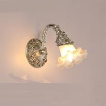 Европейский стиль стеклянный цветок настенные светильники спальня ночники гостиная ТВ фон Джейн LED прохода Crystal зеркала настенные светильники ZA