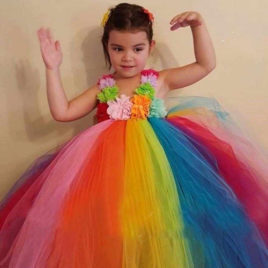 الفتيات كامل و رقيق عيد ميلاد قوس قزح توتو فستان الزهور الصناعية توتو فستان صيفي للصور حفل زفاف عيد الميلاد TS096