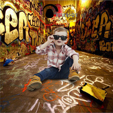 Allenjoy photo background graffiti background photography for photo studio children backdrop 3D street photocall photo booth(China)