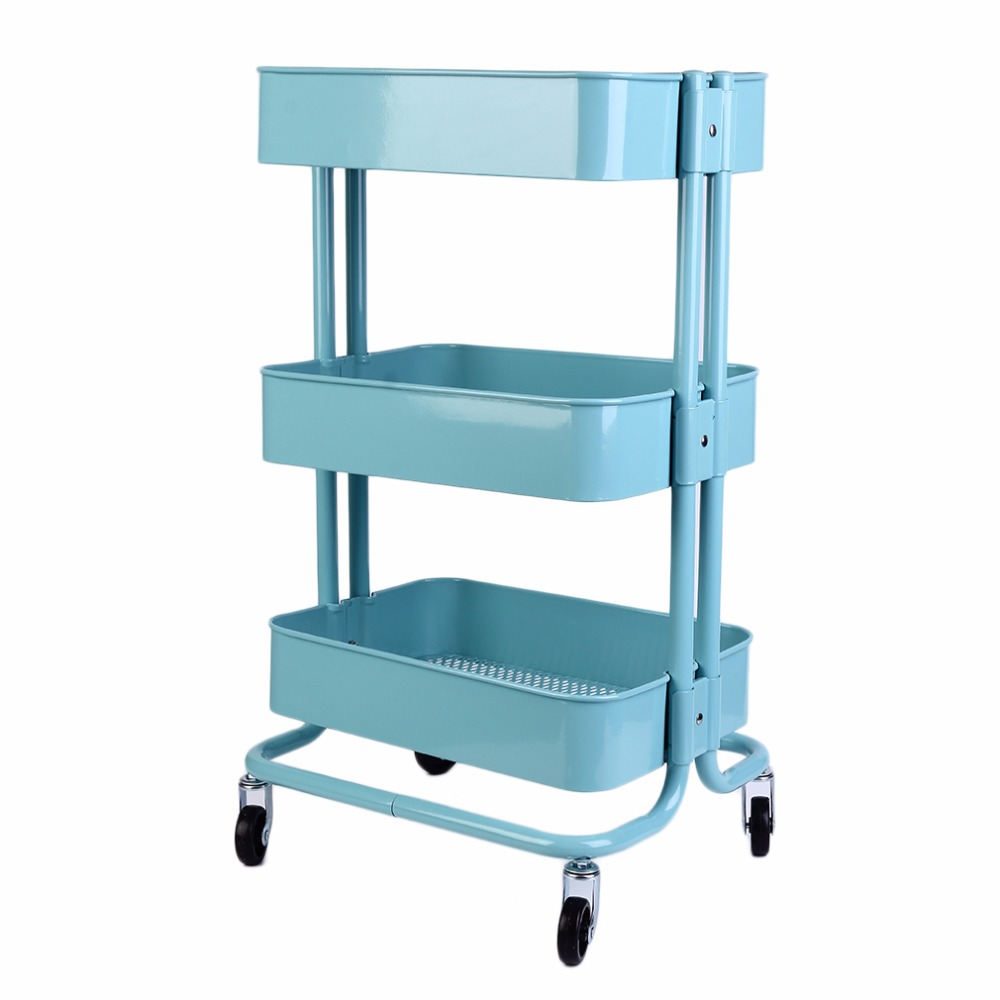 Germany shipment 3 Layers Superposition Blue Metal Storage Racks Kitchen Shelving Holders Multiuse Organizer Wheels Can Move