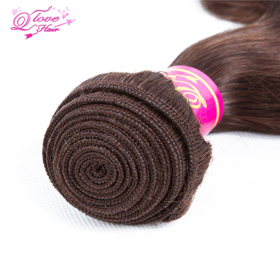 Queen Love Hair Pre-Colored Non Remy Body Wave Human Hair 4 Bundles With Closure #4 Color Indian Hair Extensions