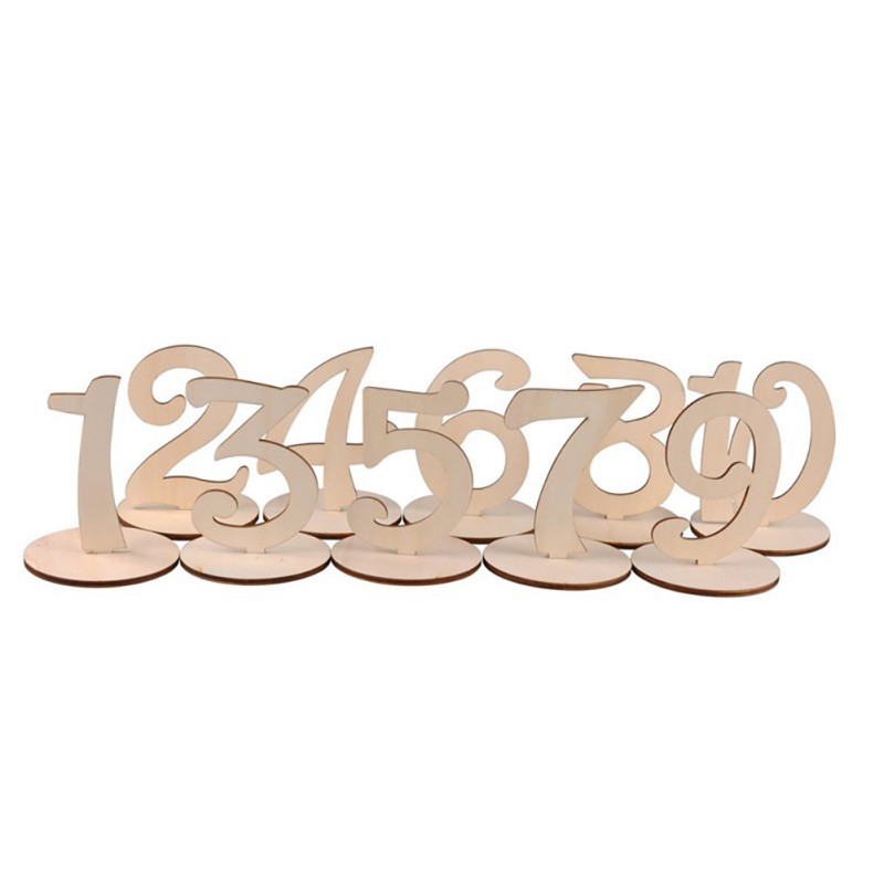 10pc Cute Wooden Numbers Sign Rustic Wedding Birthday Party Banquet Table Decoration Event Party Supplies