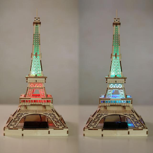 Diy Solar De Madeira Jigsaw Puzzle 3D A Torre Eiffel em Paris Organização de Móveis Em Miniatura Modelo Brinquedos de presente Criativo Frete Grátis