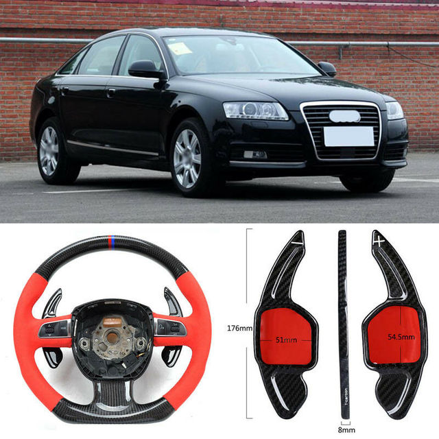 $ 103.39 Carbon Fiber Gear DSG Steering Wheel Paddle Shifter Cover Fit For Audi A6 09-11