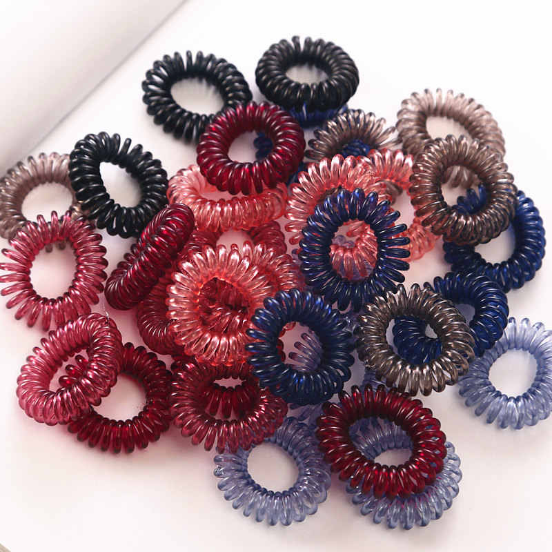 10PC/lot 3cm Small Hair Ropes Girls Transparent Color Elastic Hair Bands Kid Ponytail Holder Tie Gum Hair Accessories
