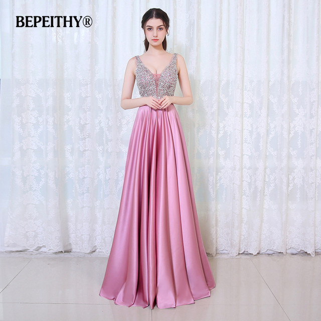 BEPEITHY V-Neck Beads Bodice Open Back A Line Long Evening Dress Party Elegant Vestido De Festa Fast Shipping Prom Gowns 2