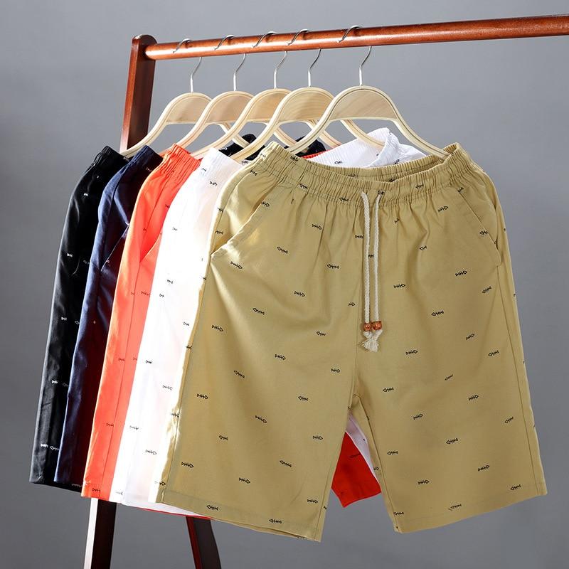 Uwback Algodão Casual Shorts Men Impresso Elástico Na Cintura Calções de Praia Da Moda Fina Respirável Board Shorts Bermuda Cáqui Fino XA604