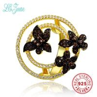 L Zuan 925 Sterling Silver Rings For Women Fine Jewelry Flower Bague Femme Multicolor Zircon Gold