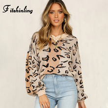 Fitshinling Leopard Sweaters Women Winter 2019 Pullovers Knitwear Long Sleeve Korean Pull Femme V neck Female Sweater Jumper New