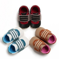 Nylon Clasp Patchwork Black/Brown/White Baby Boys Breathable Anti Slip Shoes Sneakers Soft Soled Walking Shoes First Walkers
