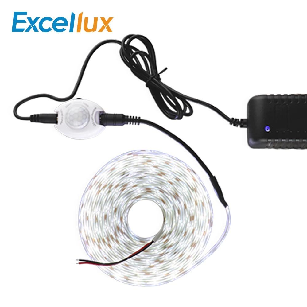 110V 220V PIR Motion Sensor Strip Light Waterproof DC 12V 2835 SMD Sensor Led Strip Light + EU US Plug Cabinet Bed Light 1M-5M