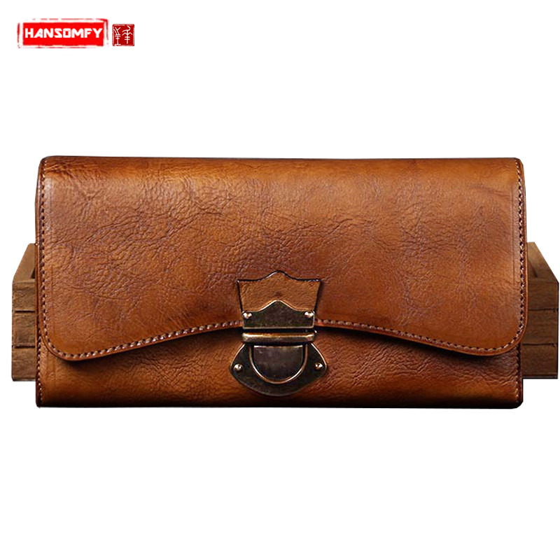 Women s handmade wallet female genuine leather card holder long wallet ladies retro zipper Clutch Bag