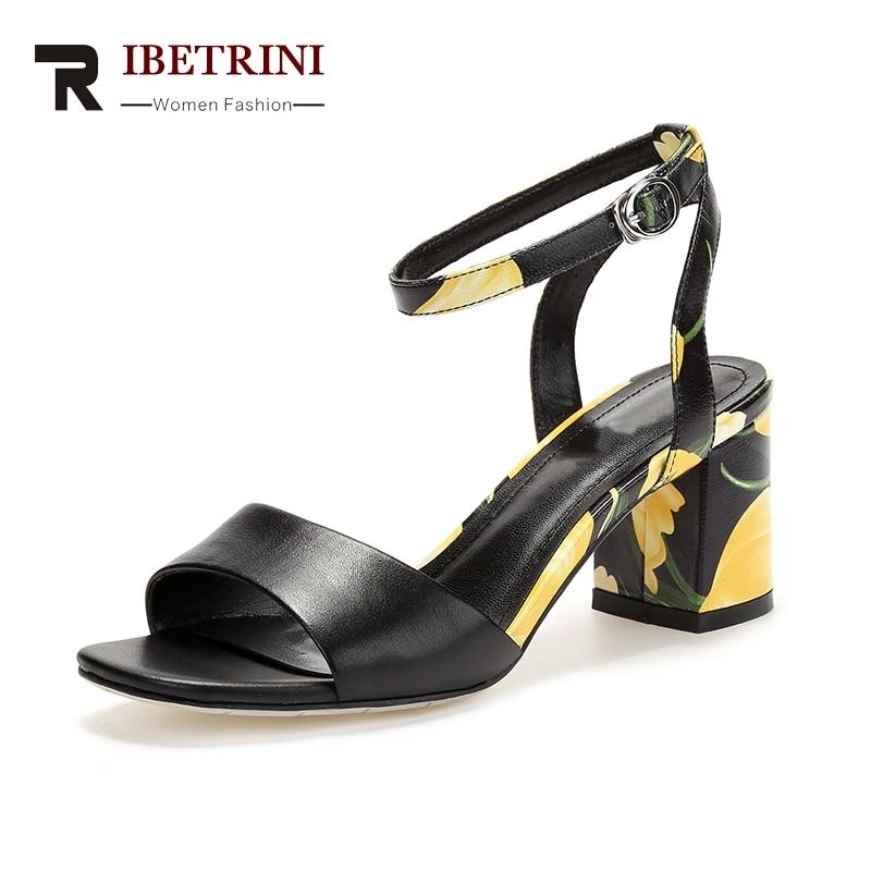 RIBETRINI New Brand Plus Size 33-40 Koe lederen bloem Vrouw schoenen - Damesschoenen