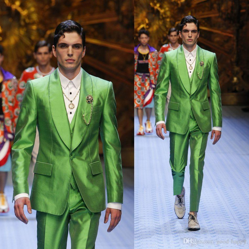 Fashion Shiny Green Groom Tuxedos Excellent Men Wedding Dress Men Business Prom Party Dinner Holiday Suit(Jacket+Pants+Tie+Vest)