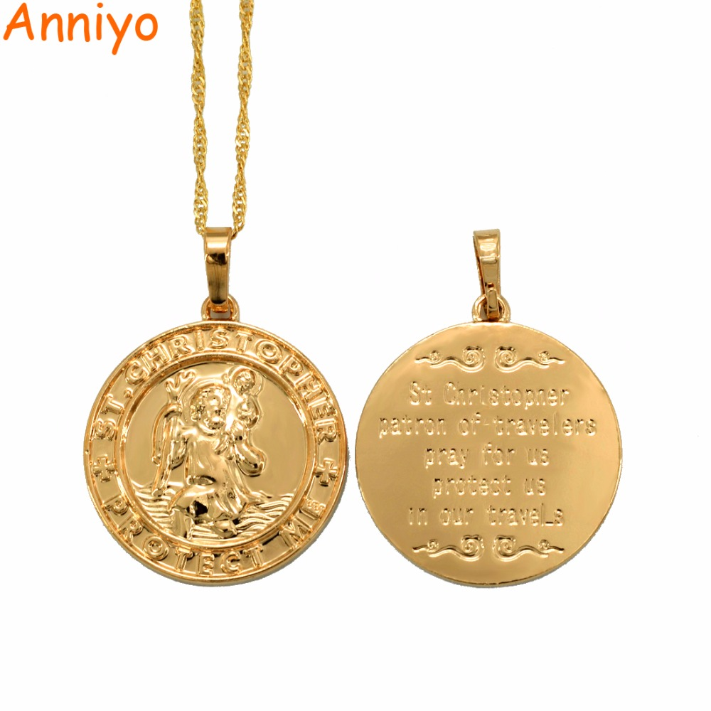 Anniyo St. Christopher Protect Me Necklaces for Women,Light Gold/Silver Color Saint Christophe Pendant Religious Jewelry #040904