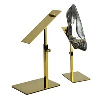 Titanium Gold Stainless Steel Metal Shoes Display Showing Stand Shoe Bracket Adjustable Display Rack