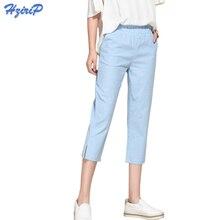 Hzirip מזדמן הרמון מכנסיים נשים 2020 חדש Loose כותנה פשתן מכנסיים אלסטיות גבוה מותניים בציר נשי Capris בתוספת גודל S 3XL