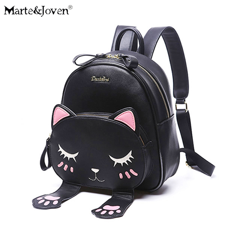 Marte&Joven Unique Cat Backpack Bags for Women Cat Lovers Fashion Ladies Best PU Leather Cartoon Animal Small Backpacks Mochila