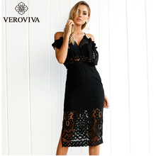VEROVIVA Black Halter Cut Out Lace Women Dress Sexy White V-neck Backless Cold Shoulder Midi Dress Evening Club Female Clothes