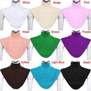 Image 2 - TEROKK Modale delle Donne Collare Falso Hijab Musulmano Islamico Puro di Colore di Copertura del Collo Loop Sciarpa Falso A Collo Alto T Shirt Collare