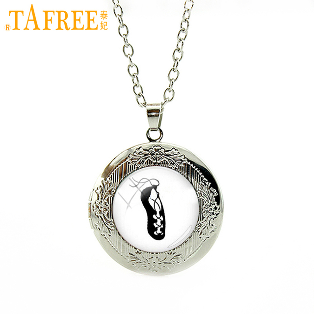 TAFREE Ballet shoes Necklace on a white background Silver Plated locket For girl  simple elegant round glass charm jewelry NS131 799ba04ffbfe