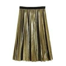 Fashion Women Metallic Silver Skirt Midi Skirt High Waist Long Skirt Metallic Pleated Skirt Party Club Ladies Clothes o ring zip up metallic skirt