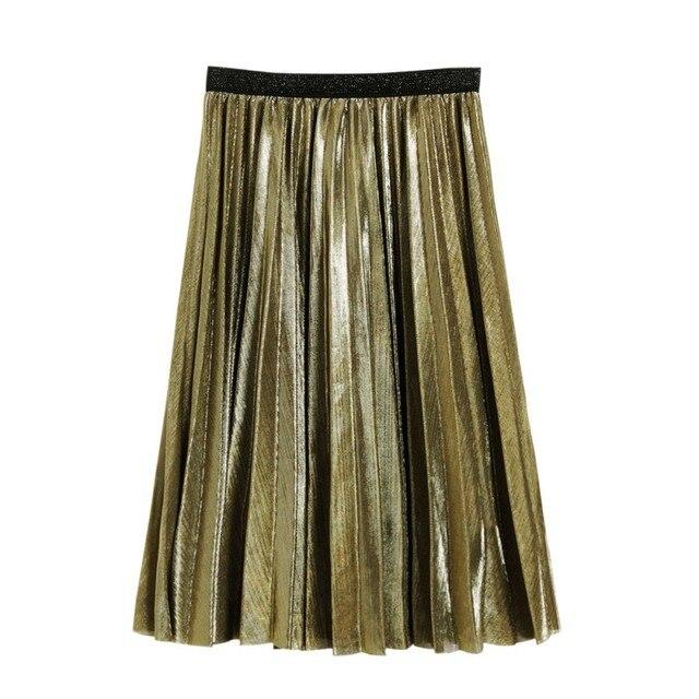 1ee699e84 € 6.3 21% de DESCUENTO|Moda mujer falda de plata metálica Midi falda de  cintura alta Falda larga Falda plisada metálica Fiesta Club ropa de mujer  ...