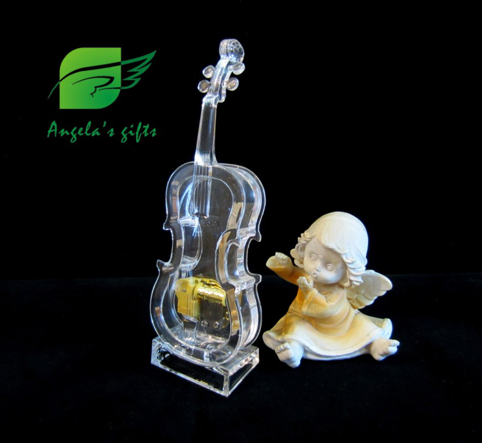 small Acrylic Voilin music box, wind up mechanism gifts for girls, wedding souvenir, home decor free shipping Angela's gifts