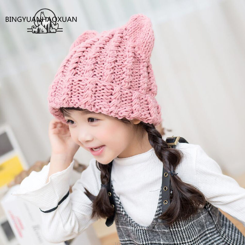 BINGYUANHAOXUAN 2-8 Years Baby Girls Hats Handmade Kids Child Winter Hats Threaded Ears Caps Cute Autumn Children Knitted Hats