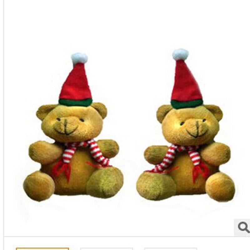 20 unids / lote envío gratis Moda 9 cm se sentó alta Navidad Felpa Oso Colgante niños juguete clave colgante regalo del partido al por mayor