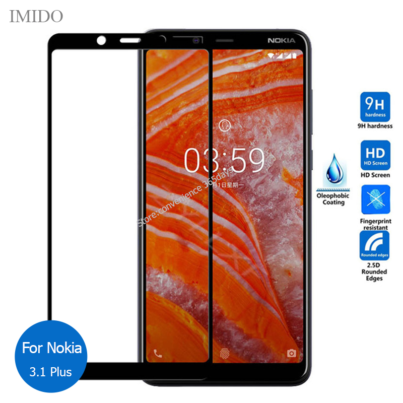 For Nokia 3.1 Plus Full Cover Tempered Glass Screen Protector 9h Safety Protective Film On 3.1Plus Ta 1104 1115 1118 Ta-1104