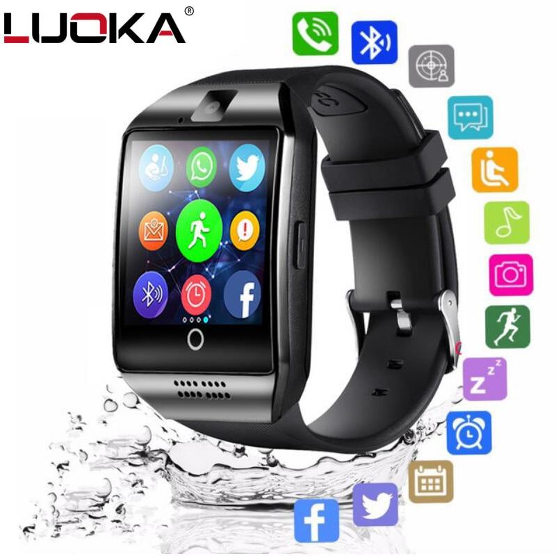 LUOKA inteligente reloj Bluetooth Q18 con cámara Whatsapp Facebook Twitter sincronización SMS Smartwatch soporte tarjeta SIM TF para IOS Android
