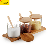 Set of 3 Glass Seasoning Rack Spice Pots Bowls With Spoon & Bamboo Holdet and Bamboo Cover Storage Container Condiment Jars