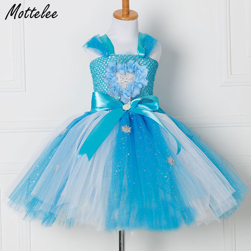 Mottelee Girls Princess Dress Blue Kids Party Tutu Dresses Birthday Summer Baby Outfits Floral Toddler Frock Children Clothing