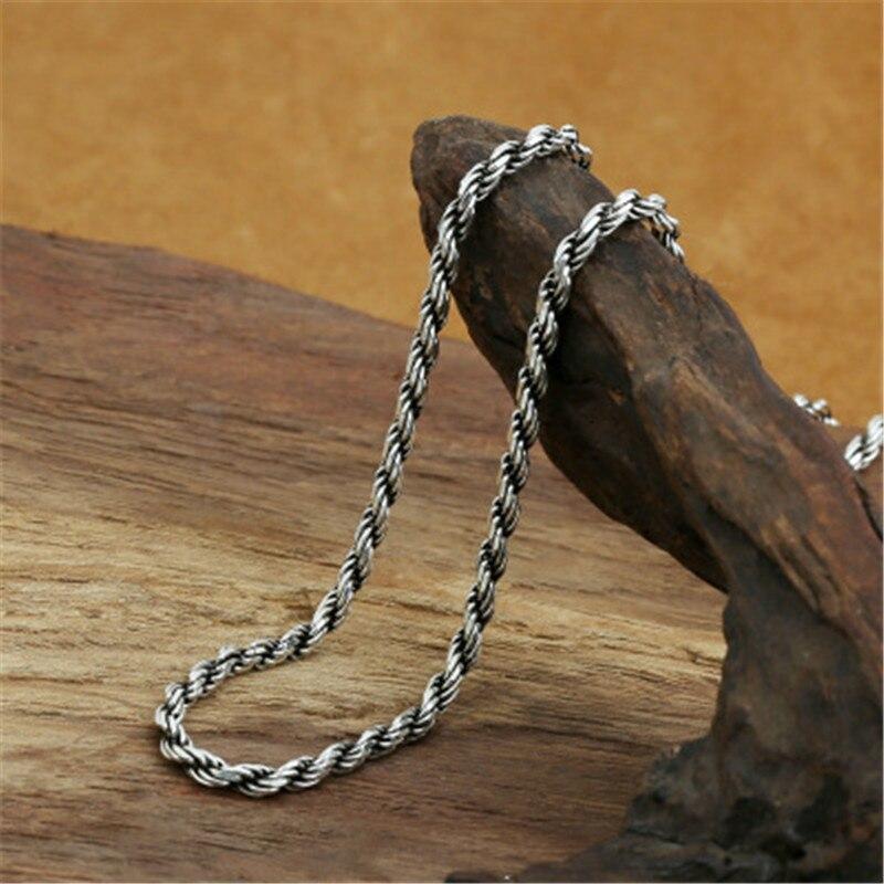 3mm de large 100% pur 925 en argent Sterling chaîne colliers pour hommes femmes en argent Sterling collier accessoires 18-32 pouces