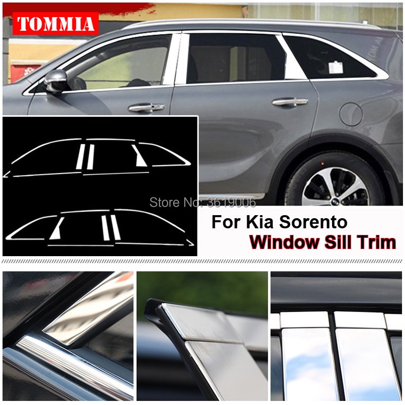 TOMMIA Full Window Middle Pillar Molding Sill Trim Chromium Styling Strips Stainless Steel For Kia Sorento 09-13