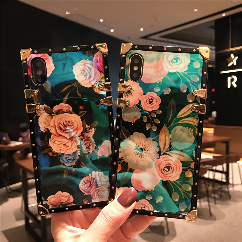 CC Camellia caso de la cubierta del teléfono para IPhone XSmax XR XS X 8 8 Plus 7 7 Plus 6 s 6 plus Floral azul Ray Plaza remache Retro hembra cubierta