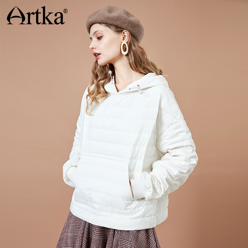 ARTKA 2018 Autumn and Winter Women Solid White Loose Hooded Pullovers Batwing Sleeve Short 90 White