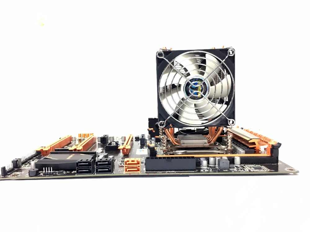 LANSHUO HOT-CPU مروحة كاتمة للصوت برودة إنتل X79 LGA2011 المعالج 4 أنابيب الحرارة تبريد وحدة المعالجة المركزية المبرد 2 مروحة