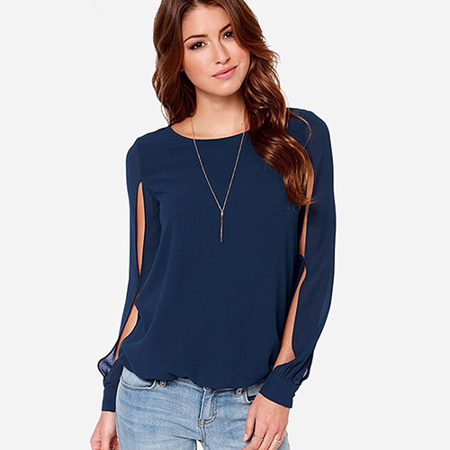 2016 Women's Fashion Loose Sexy Long Sleeve Chiffon Casual   Blouse     Shirt   Tops