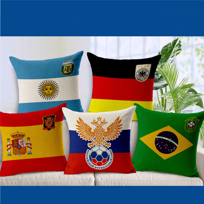 New Arrival The 2018 Russia Cushion Cover Soccer Carnival Football Games Support Pillowcovers Souvenir High Quality