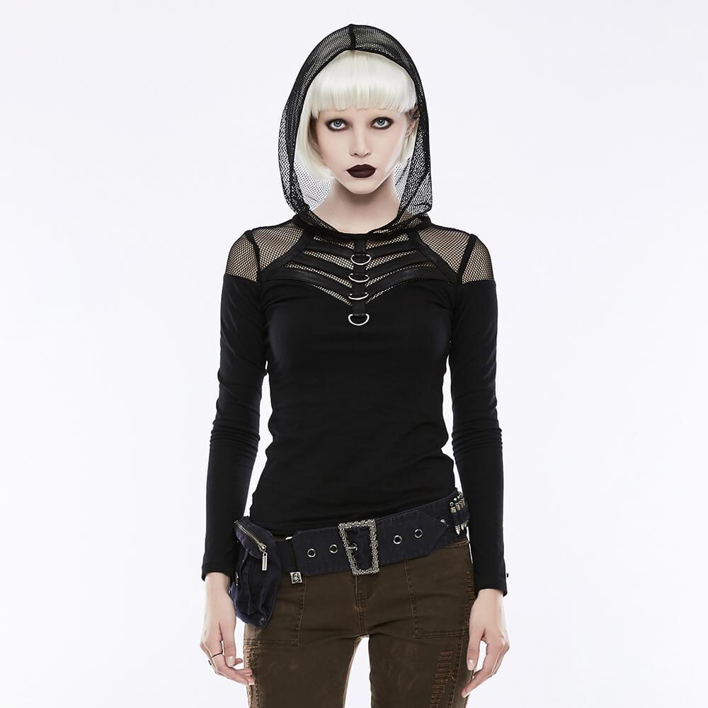 Punk T-shirt à capuche femmes gothique été automne maille tricoté à manches longues T-shirt haut pour femme T-shirt mujer