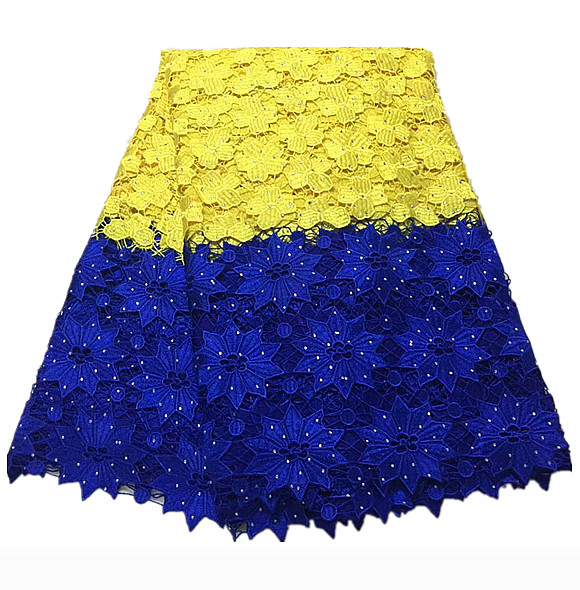 TJC93 (5yards/pc) 2018 latest African guipure lace Yellow and blue lace fabric with stones for party dress